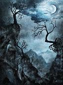 Creepy Halloween Scenery - Digital Painting