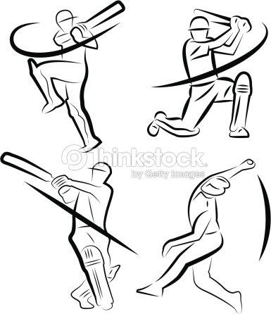 Cricket Player Outline Vector Art | Thinkstock