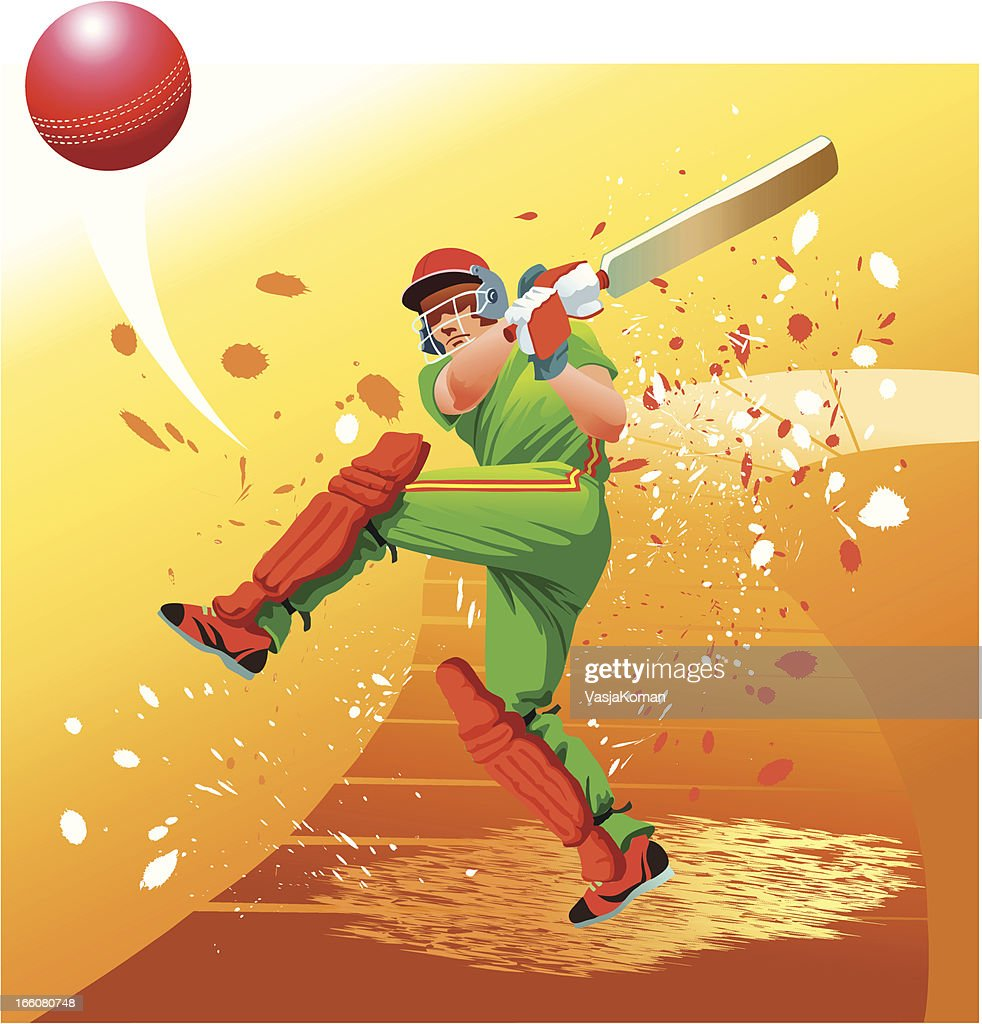 Cricket Player Strikes the Ball for Six : Vector Art
