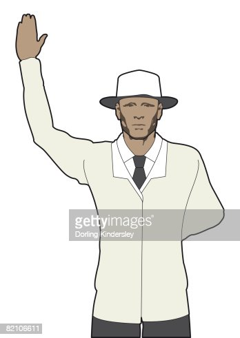 Cricket Umpire Signalling Bye One Hand Raised Other Hand Behind Back