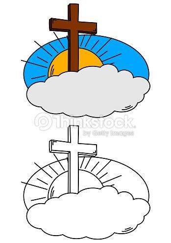 Cross Cloud Y Sol Como Para Colorear Books For Kids Ilustración de ...