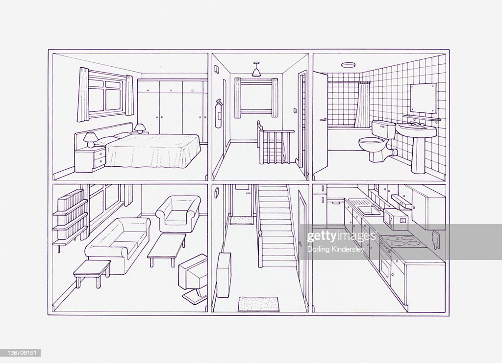 Cross section blueprint illustration of house showing rooms inside : Stock Illustration