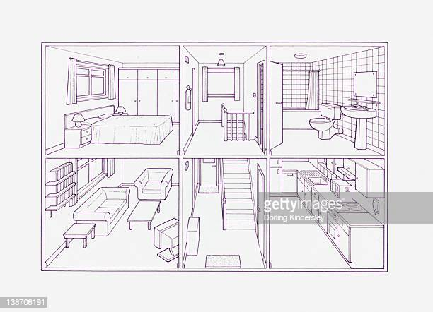 Cross section blueprint illustration of house showing rooms inside