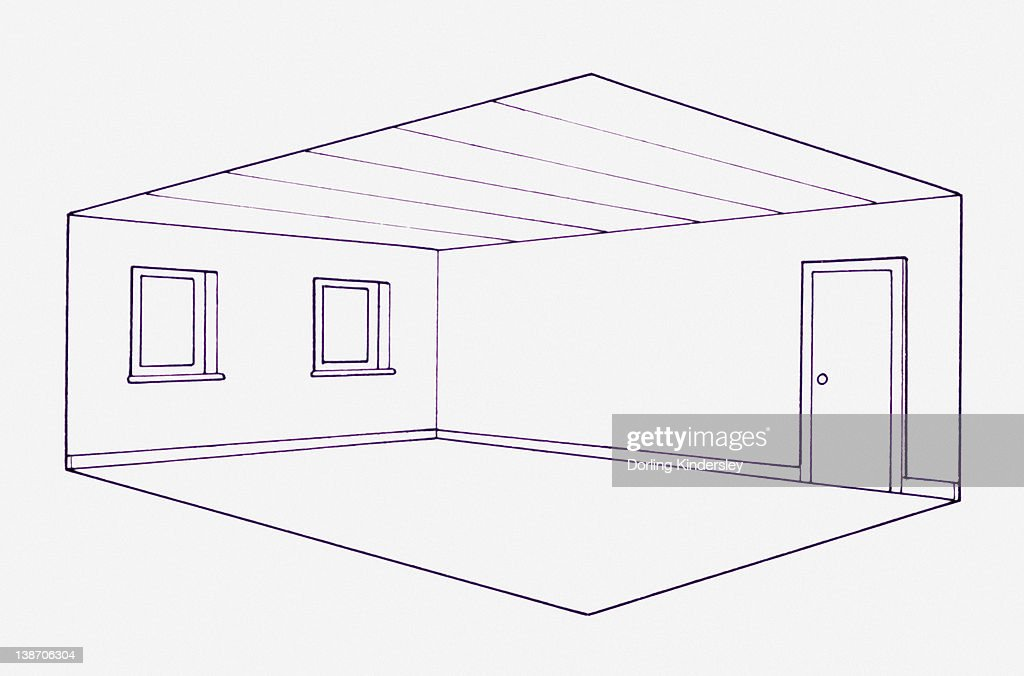 Cross Section Blueprint Illustration Of Room In House Stock