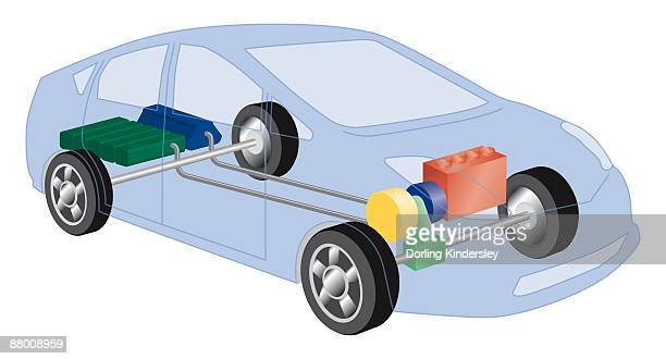 Cross section digital illustration of hybrid car showing power split unit, electric motor, generator starter, battery and petrol tank