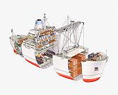 Cross section illustration of cargo ship