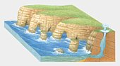 Cross section illustration of headland erosion