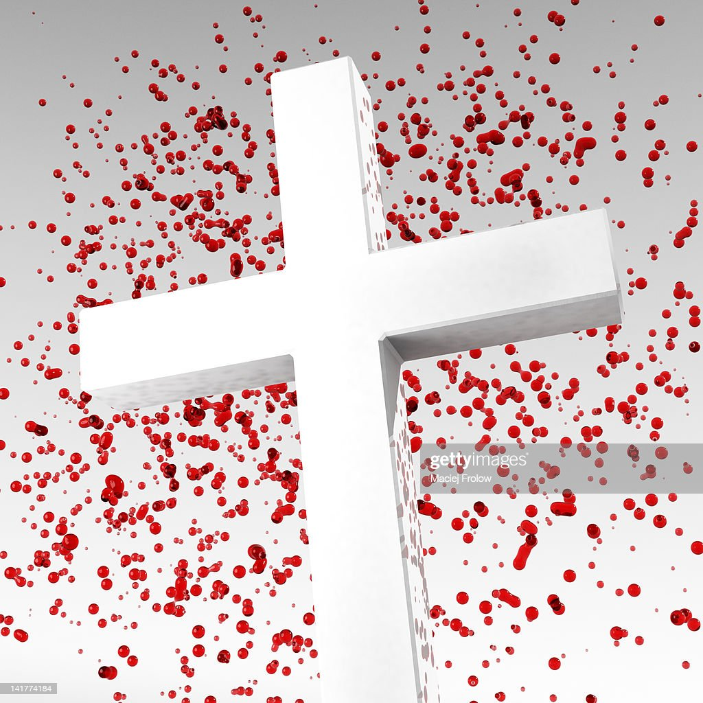 Cross with blood drops behind : Stock Illustration