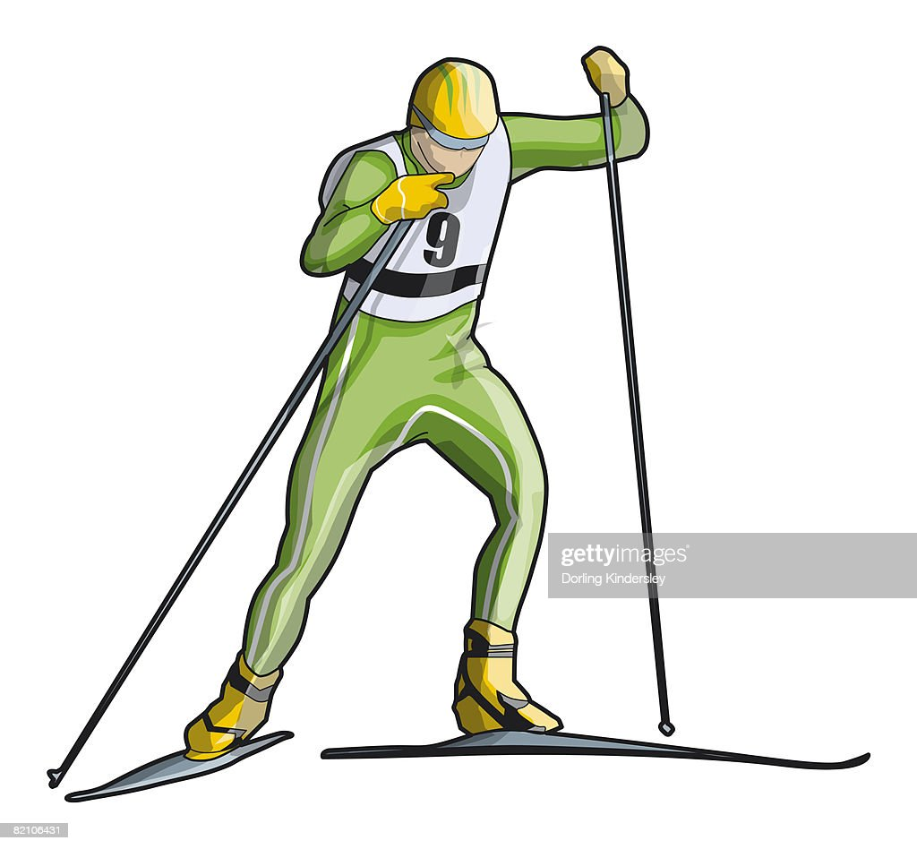Cross-country skier, front view : Stock Illustration