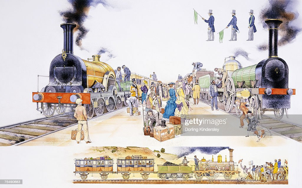 Crowded platform at Victorian railway station, with two locomotive steam trains either side : Stock Illustration