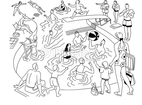 Crowded Swimming Pool Layered Fun For Everyone The Best Place To Cool Off Vector
