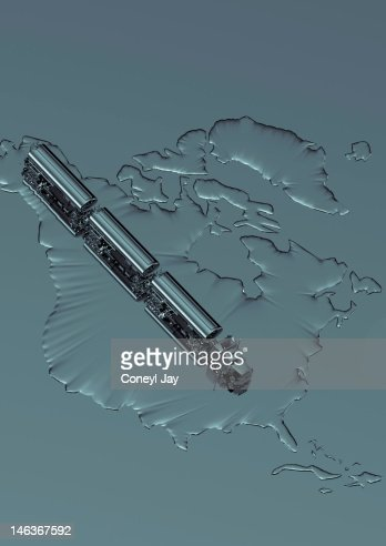 CGI of crude oil tanker truck on map of USA : Stock Illustration