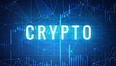 Crypto wording on futuristic hud background with cryptocurrency stock market chart and blockchain polygon peer to peer network. Global cryptocurrency business banner concept.