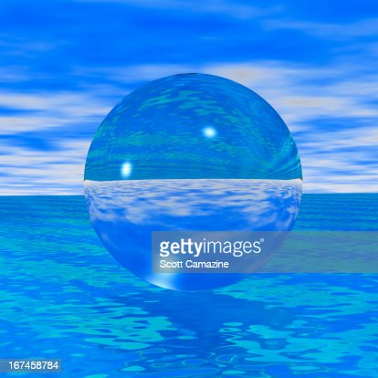 Crystal ball reflecting blue sea and skies : Stock Illustration