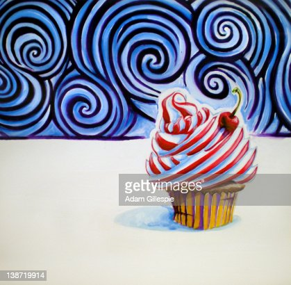 Cupcake with a cherry on top : Stock Illustration