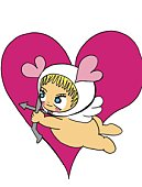 Cupid drawing a bow, Illustration, Cartoon, Portrait