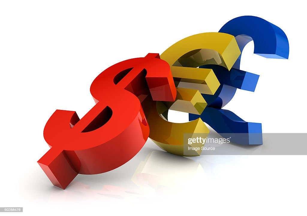 Currency signs falling : Stock Illustration