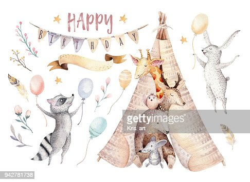Cute baby giraffe, deer animal nursery mouse and bear, raccoon and bunny isolated illustration for children. Watercolor boho forest cartoon Birthday patry invitation Perfect for nursery posters, patterns : Ilustração de stock