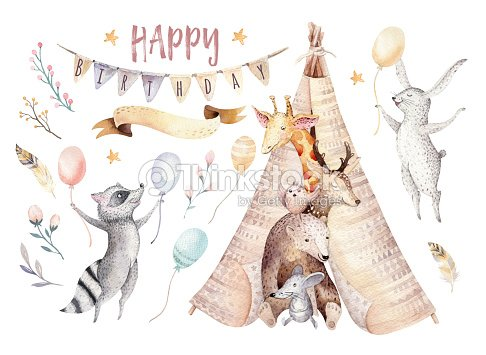 Cute baby giraffe, deer animal nursery mouse and bear, raccoon and bunny isolated illustration for children. Watercolor boho forest cartoon Birthday patry invitation Perfect for nursery posters, patterns : stock illustration