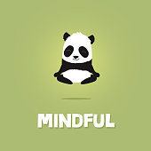 Cute cartoon illustration of panda meditating and levitating in the air