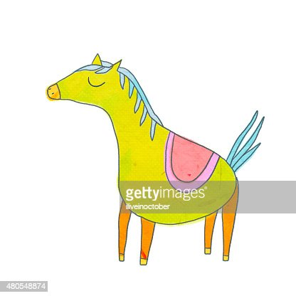 Cute horse character in cartoon style : Stock Illustration