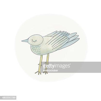 Linda gaviota ilustración en colores pastel : Ilustración de stock