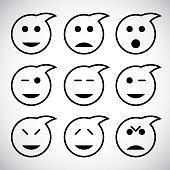 Cute Set of Simple Emojis in speech Bubble