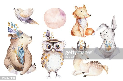Cute watercolor bohemian baby cartoon rabbit and bear animal for kindergarten, woodland deer, fox and owl nursery isolated bunny forest illustration for children. Bunnies animals. : stock illustration