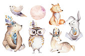 Cute watercolor bohemian baby cartoon rabbit and bear animal for kindergarten, woodland deer, fox and owl nursery isolated bunny forest illustration for children. Bunnies animals