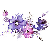 watercolor hand painted purple flowers. Invitation. Wedding card. Birthday card