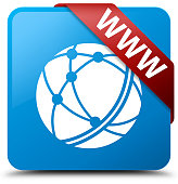 WWW (global network icon) isolated on cyan blue square button with red ribbon in corner abstract illustration