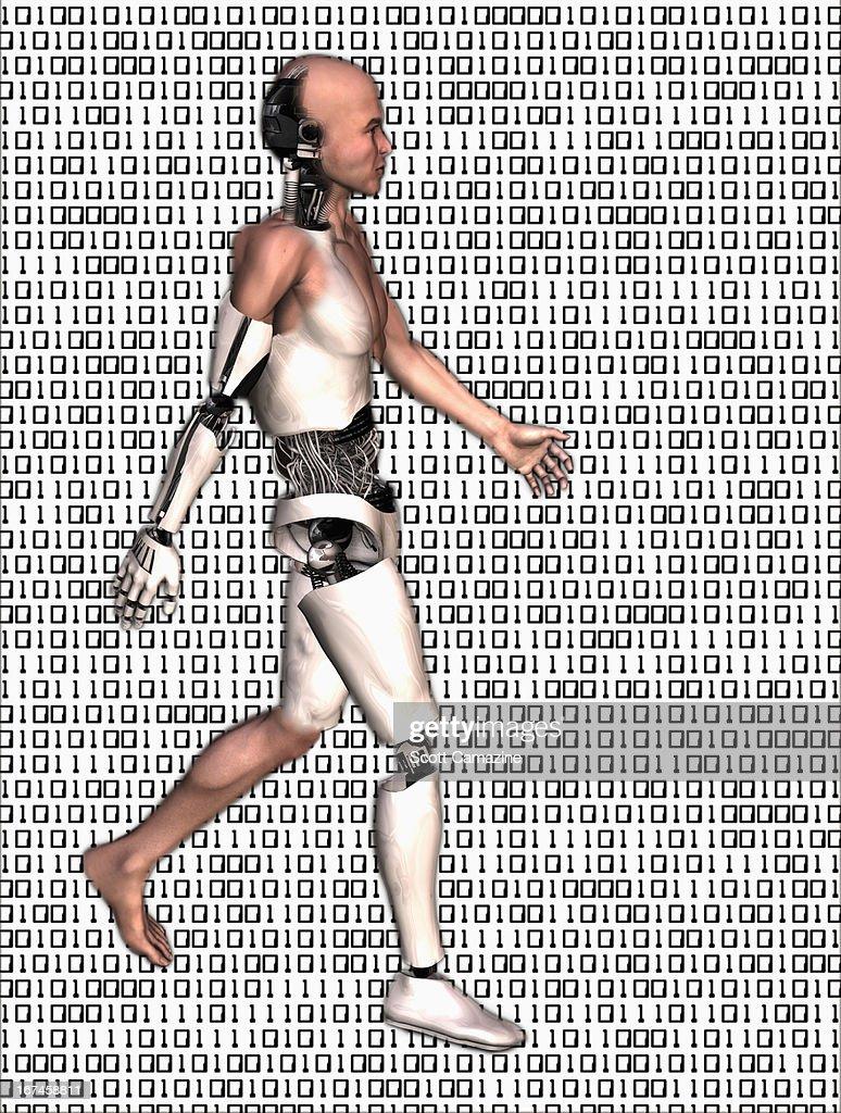 Cyborg walking on binary code background : Stock Illustration