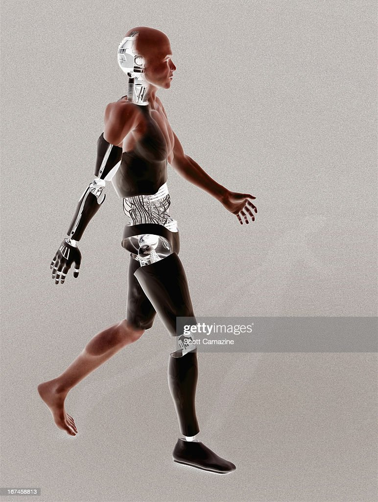 Cyborg walking on binary code background : Stock Illustration