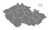Czech Republic regions Map in grey