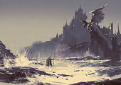 illustration painting of king walking through sea beach next to fantasy castle in background