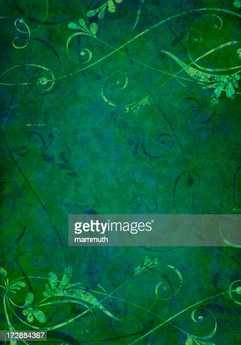 Dark Green Grunge Floral Background Stock Illustration ...
