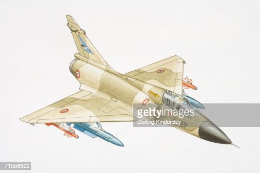 Dassault Mirage military jet with missiles below wings. : Stock Illustration