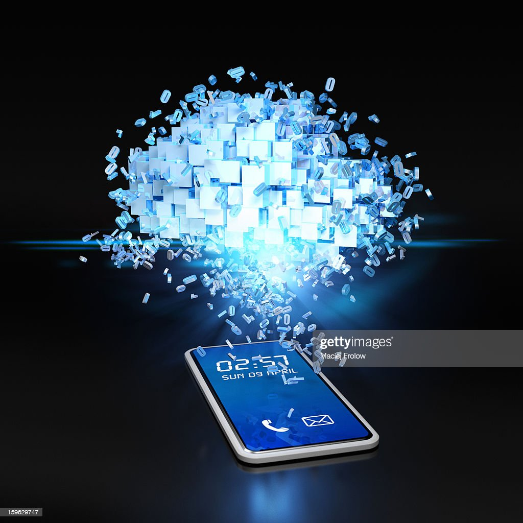 Data cloud over phone device with flying numbers : Stock Illustration
