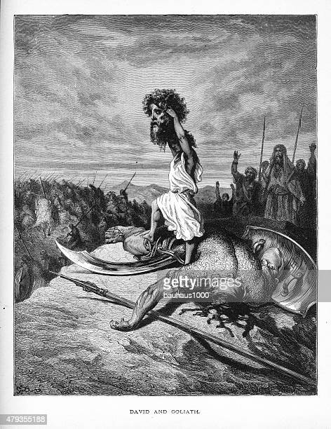 David and Goliath Biblical Engraving