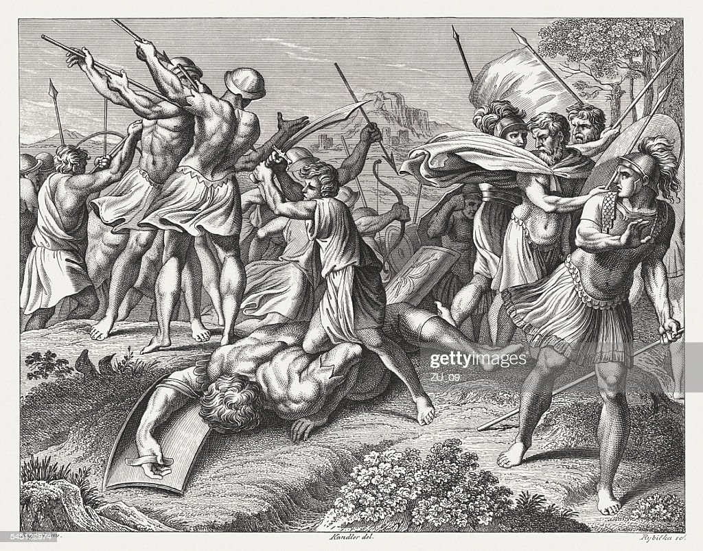 david and goliath steel engraving published 1841 stock