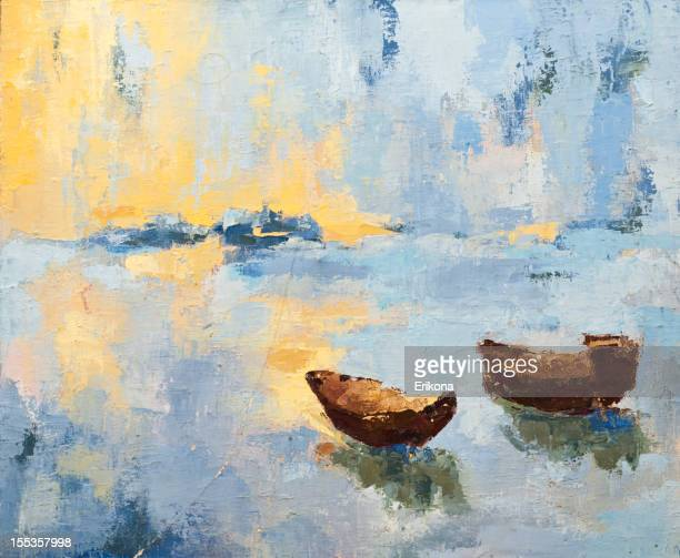 Dawn painting with boats and water