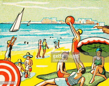 A Day at the Beach : Stock Illustration