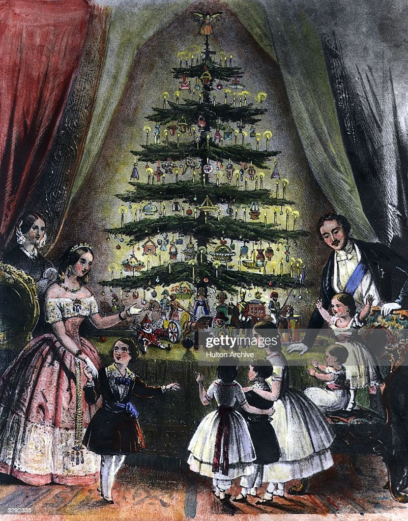The Royal Christmas tree is admired by Queen Victoria Prince Albert and their children