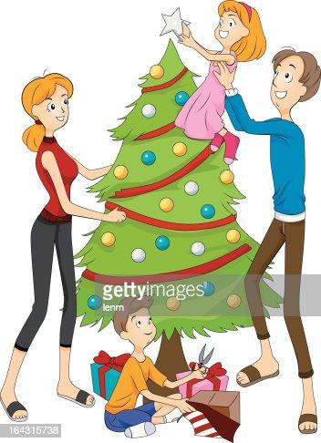 People Decorating A Christmas Tree decorating christmas tree vector art | thinkstock