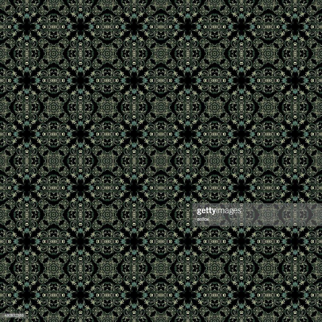 Decorative art, geometric pattern, symmetrical illustration, abstract fractals, seamless ornament. : Stock Illustration