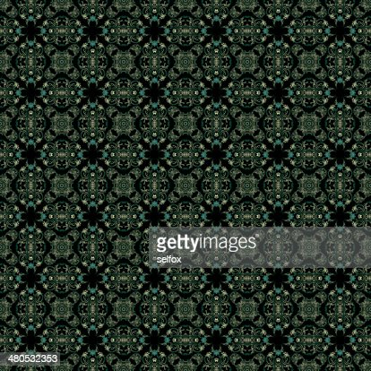 Decorative art, geometric pattern, symmetrical illustration, abstract fractals, seamless ornament. : Stock Illustration