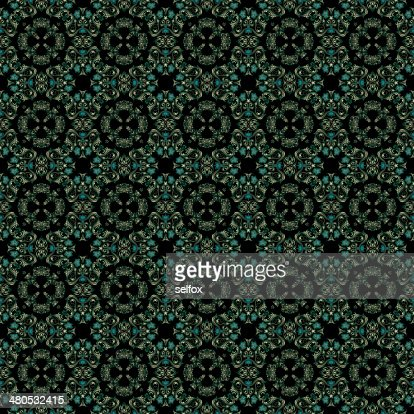 Decorative art, geometric pattern, symmetrical illustration, abstract fractals, seamless ornament. : Illustrationer