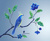 decorative bird hand painted illustration, songbird, Asian flowers and leaves, exotic nature clip art, oriental floral design background