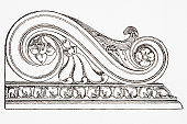 Decorative carving from Roman building, detail