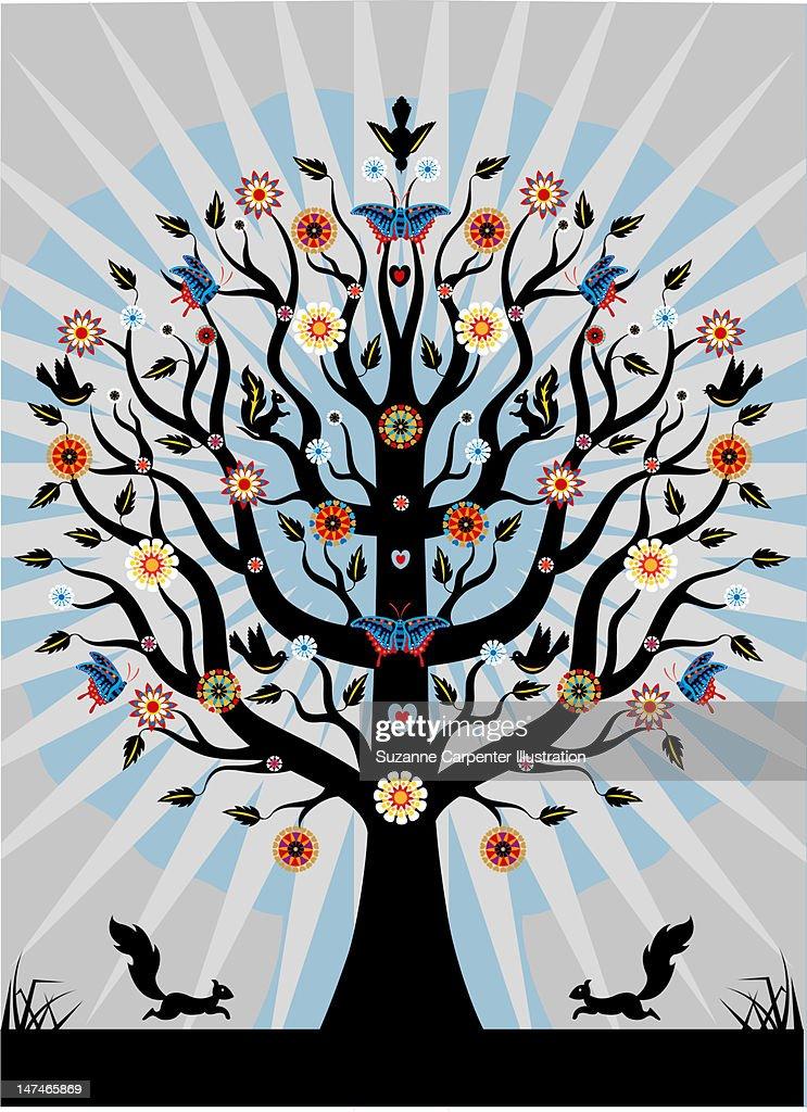 Decorative Illustrated tree : Stock Illustration